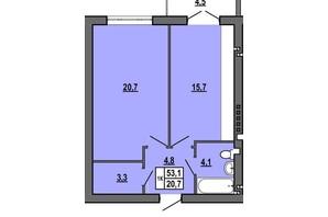 ЖК Джентельмен Парк: планування 1-кімнатної квартири 53.1 м²