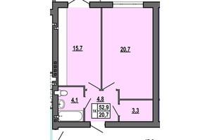 ЖК Джентельмен Парк: планування 1-кімнатної квартири 52.9 м²