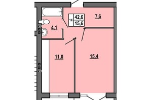 ЖК Джентельмен Парк: планировка 1-комнатной квартиры 42.6 м²