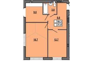 ЖК Джентельмен Парк: планировка 2-комнатной квартиры 58.3 м²