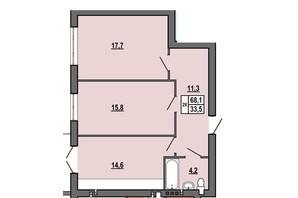 ЖК Джентельмен Парк: планировка 2-комнатной квартиры 68.1 м²