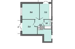 ЖК Джентельмен Парк: планировка 2-комнатной квартиры 65.9 м²