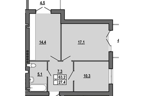 ЖК Джентельмен Парк: планировка 2-комнатной квартиры 63.2 м²