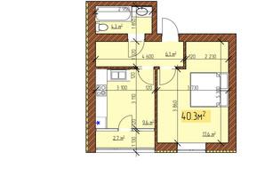 ЖК Джерельный: планировка 1-комнатной квартиры 40.3 м²