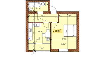 ЖК Джерельный: планировка 1-комнатной квартиры 43 м²