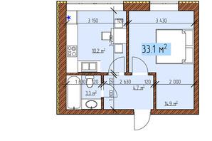 ЖК Джерельный: планировка 1-комнатной квартиры 33.1 м²