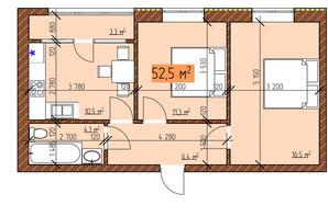 ЖК Джерельный: планировка 2-комнатной квартиры 52.5 м²