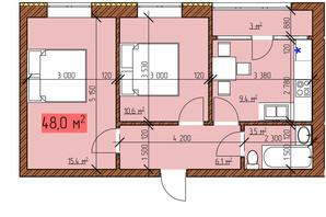 ЖК Джерельный: планировка 2-комнатной квартиры 48 м²