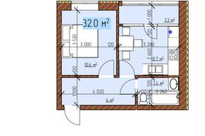 ЖК Джерельный: планировка 1-комнатной квартиры 32 м²