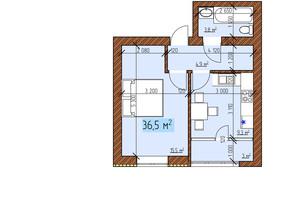 ЖК Джерельный: планировка 1-комнатной квартиры 36.5 м²