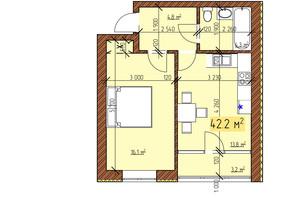 ЖК Джерельный: планировка 1-комнатной квартиры 42.2 м²