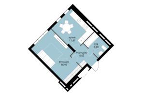 ЖК Echo Park 2: планування 1-кімнатної квартири 35.87 м²