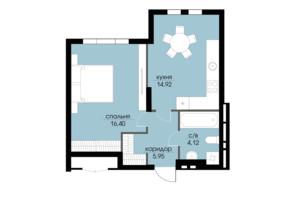 ЖК Echo Park 2: планування 1-кімнатної квартири 41.39 м²