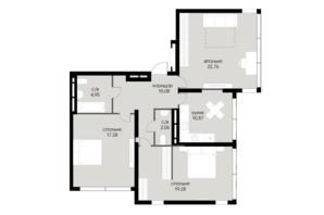 ЖК Echo Park 2: планування 3-кімнатної квартири 87.28 м²