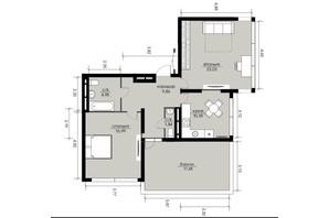 ЖК Echo Park 2: планування 2-кімнатної квартири 72.56 м²