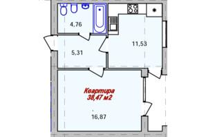 ЖК Eco town: планування 1-кімнатної квартири 38.47 м²