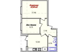 ЖК Eco town: планування 2-кімнатної квартири 52.98 м²