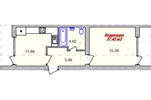 ЖК Eco town: планировка 1-комнатной квартиры 37.42 м²