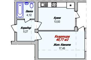 ЖК Eco town: планування 1-кімнатної квартири 40.77 м²