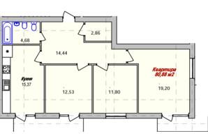 ЖК Eco town: планування 3-кімнатної квартири 80.88 м²
