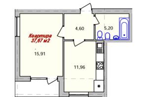 ЖК Eco town: планировка 1-комнатной квартиры 37.67 м²