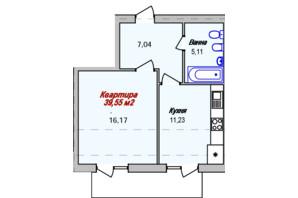 ЖК Eco town: планировка 1-комнатной квартиры 39.55 м²