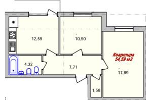 ЖК Eco town: планування 2-кімнатної квартири 54.59 м²
