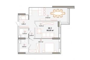 ЖК Edelweiss House (Эдельвейс Хаус): планировка 2-комнатной квартиры 84.65 м²
