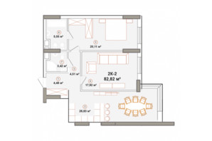 ЖК Edelweiss House (Эдельвейс Хаус): планировка 2-комнатной квартиры 81.25 м²