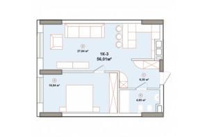 ЖК Edelweiss House (Эдельвейс Хаус): планировка 1-комнатной квартиры 56.01 м²