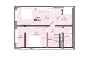 ЖК Edelweiss House (Эдельвейс Хаус): планировка 3-комнатной квартиры 107.8 м²