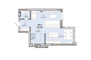 ЖК Edelweiss House (Эдельвейс Хаус): планировка 3-комнатной квартиры 111.38 м²