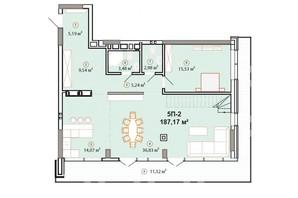 ЖК Edelweiss House (Эдельвейс Хаус): планировка 5-комнатной квартиры 187.17 м²