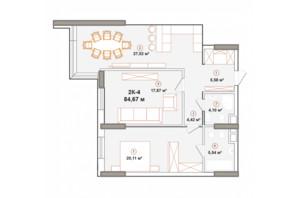 ЖК Edelweiss House: планировка 2-комнатной квартиры 84.65 м²