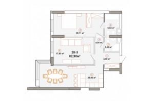 ЖК Edelweiss House: планировка 2-комнатной квартиры 82.81 м²