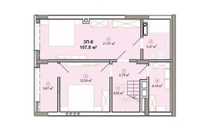 ЖК Edelweiss House: планировка 3-комнатной квартиры 107.8 м²