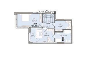 ЖК Edelweiss House: планировка 3-комнатной квартиры 123.25 м²