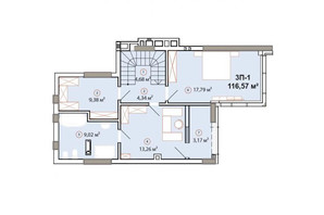 ЖК Edelweiss House: планировка 3-комнатной квартиры 116.57 м²
