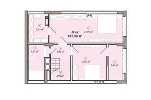 ЖК Edelweiss House: планировка 3-комнатной квартиры 107.9 м²