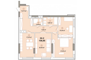 ЖК Edelweiss House: планировка 3-комнатной квартиры 88.34 м²