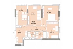 ЖК Edelweiss House: планировка 3-комнатной квартиры 105.39 м²