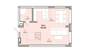 ЖК Edelweiss House: планировка 3-комнатной квартиры 104.49 м²