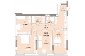 ЖК Edelweiss House: планировка 3-комнатной квартиры 90.6 м²