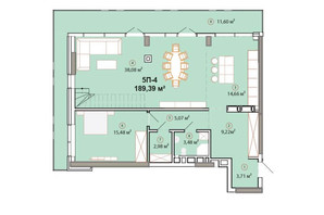 ЖК Edelweiss House: планировка 5-комнатной квартиры 189.39 м²