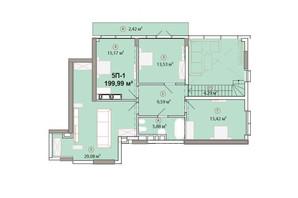 ЖК Edelweiss House: планировка 5-комнатной квартиры 199.99 м²