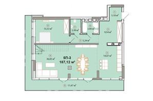 ЖК Edelweiss House: планировка 4-комнатной квартиры 187.12 м²