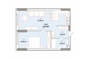 ЖК Edelweiss House: планировка 1-комнатной квартиры 56.01 м²