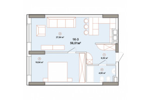 ЖК Edelweiss House: планування 1-кімнатної квартири 56.01 м²