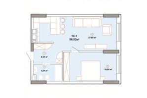 ЖК Edelweiss House: планування 1-кімнатної квартири 56.02 м²