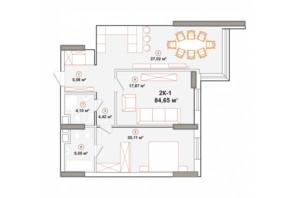 ЖК Edelweiss House: планування 2-кімнатної квартири 84.65 м²